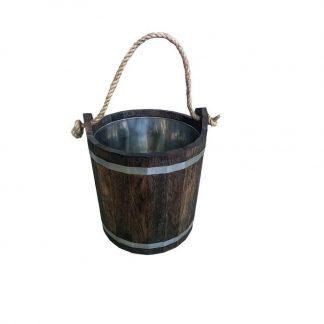 Запарник из дуба под маслом тёмный с вставкой из нержавейки, 16 литров.