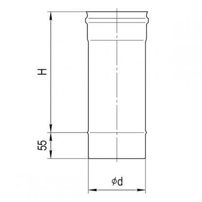 Дымоход Ф 100 L-0,5м (430/0,5мм) Ferrum