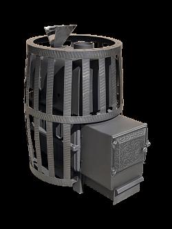 Дровяная банная печь-камин Березка Воевода 20 сетчатый кожух Закрытая каменка