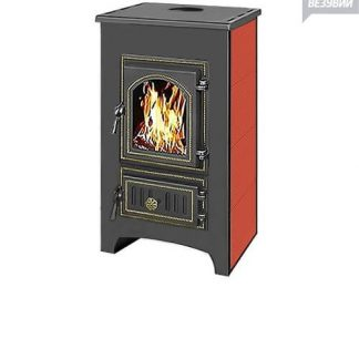 Печь-Камин ВЕЗУВИЙ ПК-01 (270) с плитой красный