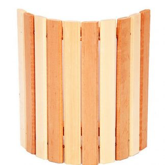 Абажур угловой комбинированный с широкими рейками из ольхи для бани и сауны.